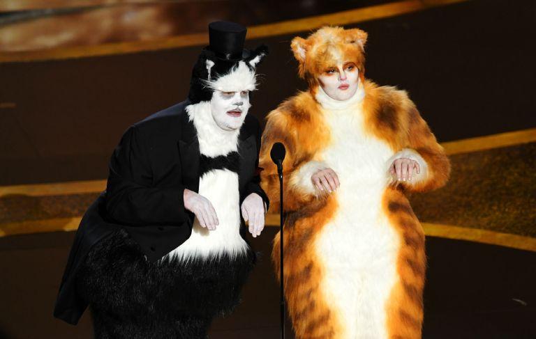 James-Corden-and-Rebel-Wilson-poke-fun-at-Cats-at-Oscars-2020